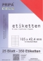 Mobile Preview: 25 Blatt Etiketten (DIN A4) 105 x 42 mm = 350 Etiketten