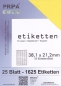 Mobile Preview: 25 Blatt Etiketten (DIN A4) 38 x 21 mm = 1625 Etiketten