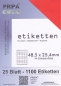 Mobile Preview: 25 Blatt Etiketten (DIN A4) 48 x 25 mm = 1100 Etiketten