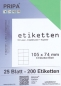 Mobile Preview: 25 Blatt Etiketten (DIN A4) 105 x 74 mm = 200 Etiketten