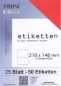 Mobile Preview: 25 Blatt Etiketten (DIN A4) 210 x 148 mm = 50 Etiketten